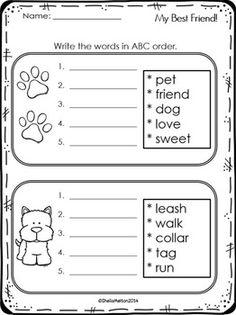 abc order activity freebie my best friend literacy station