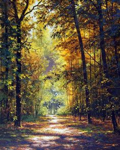 🇷🇺 Autumn road in Russia by Victor Yushkevich [painting] cr. Watercolor Landscape, Landscape Art, Landscape Paintings, Landscape Photography, Nature Photography, Summer Painting, Autumn Scenes, Nature Paintings, Nature Scenes