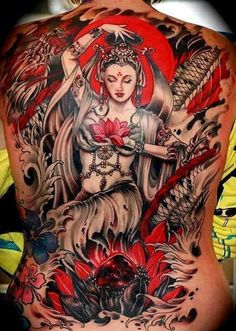 Religious Japanese Back Colored Tattoo.jpg