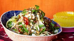 Banana blossom, coconut chicken and chilli salad | Served raw, banana blossoms lend crunch to all sorts of South-East Asian salads, including this Thai favourite. Look for large, firm blossoms without discolouration. To prepare this vegetable, remove the coloured outer leaves until you reach the pale heart, similar to the way you prepare globe artichokes.