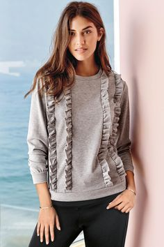 Buy Grey Ruffle Sweat Top from the Next UK online shop