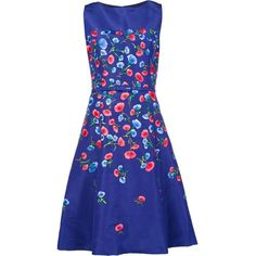 Oscar de la Renta floral embroidery flared dress (120.955 ARS) ❤ liked on Polyvore featuring dresses, blue, blue silk dress, silk dress, flower print dress, floral fit-and-flare dresses and silk print dress