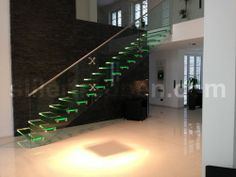 Straight glass floating staircase MISTRAL LED Siller Stairs