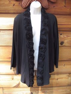 Women's I. C. E. Sweater Top Open Front Floral Details XL Black Cotton Blend #ICE #Cardigan