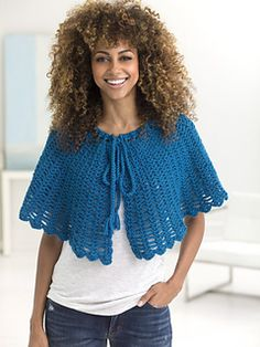 Lion Brand: Openwork Cape Shawl - free crochet pattern by Katherine Eng.