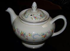 Homer Laughlin Eggshell Nautilus DuBarry Footed Teapot, florals w/blue garlands #HomerLaughlinUSA