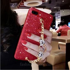 Buy for iphone 6 7 8 plus X Luxury Pretty Cute Diamond leopard bracelet chain red black glitter soft phone case cover Chanel Phone Case, Diy Phone Case, Cute Phone Cases, Iphone Cases Bling, Iphone 6, Versace, Accessoires Iphone, Black Glitter, Glitter Hearts