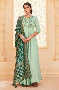 Online Fashion Shopping Store for Littledesire Embroidered Gown With Banarasi Jacquard Dupatta, Ethnic Wear, Party Wear Kurtis & Gowns. Littledesire Embroidered Gown With Banarasi Jacquard Dupatta Buy Online with secure payment gateway from India. Abaya Fashion, Indian Fashion, Fashion Dresses, French Fashion, Designer Gowns, Indian Designer Wear, Party Wear Kurtis, Punjabi Dress, Gowns For Girls