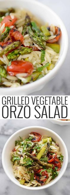 The perfect spring salad! Grilled Vegetable Orzo Pasta Salad! A great lunch, dinner on it's own or a side dish. Grilled asparagus, grilled onion and tomato and a lemon mint dressing.