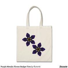 Purple Metalic Flower Budget Tote Canvas Bags