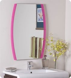 Decor Wonderland Paula's Pink Frameless Wall Mirror
