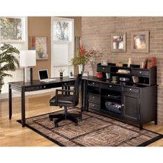 ashley carlyle l desk credenza short hutch set the sleek design of the contemporary styled
