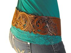 Hand Tooled Leather Cowgirl Hipster Belt by Clair Kehrberg - #CowgirlChic