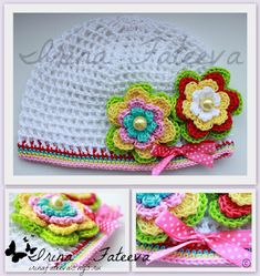 Hat with Flowers free crochet graph pattern