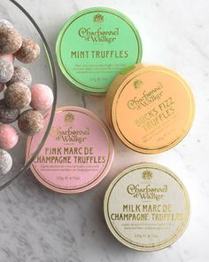 champagne truffles packaging - pastels+gold