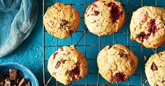 Spotted with chocolate and raspberries, these kid-friendly cookies will be a new lunchbox favourite.