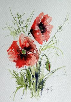 Poppy Painting - Poppies by Kovacs Anna Brigitta Colorful Art, Flower Painting, Art Painting, Watercolor Poppies, Watercolor Flowers Paintings, Poppy Painting, Floral Art, Watercolor Flowers, Original Watercolor Painting