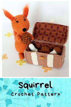 Squirrel Pattern amigurumi crochet toy, Stuffed squirrel pdf, Handmade squirrel