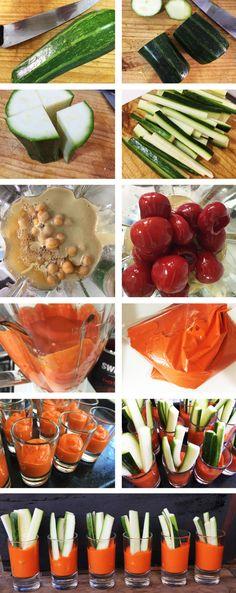 Receta de Vasitos de Hummus de Pimentón con palitos de Zapallitos.. muy bueno, fácil y rápido de hacer! Perfecto para un picoteo