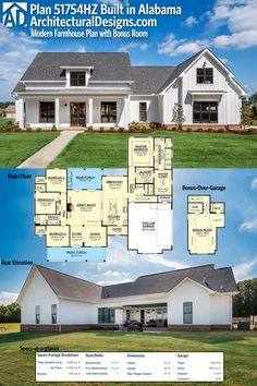 Architectural Designs Modern Farmhouse Plan 51754HZ was built in Alabama by one of our clients. This plan gives you over 2,600 square feet of living space plus a bonus room over the garage giving you a great play room or a 5th bedroom. Ready when you are. Where do YOU want to build?
