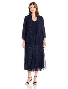 RM Richards Womens Plus Size Beaded Chiffon Jacket Dress Navy 16W ** Amazon most trusted e-retailer #BabydollDress