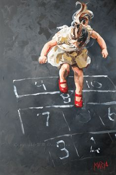 """Hopscotch"" -- by Maria M Oosthuizen (b.1972, South African)"