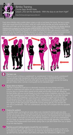 """Bimbo training - """"Basic Bimbo Rules: YOU set the standards - With the duty to set them high!"""" (There isn't such a thing as """"overdressed"""" for a bimbo!) Many of you asked me to create some more """"basic."""