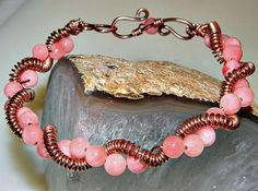 Pink Jade and Copper Torsade Bracelet