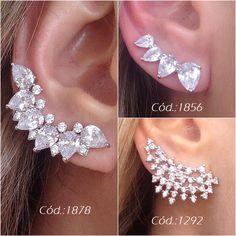 Ideas For Jewerly Earrings Diamond Gemstones Ear Jewelry, Gemstone Jewelry, Jewelry Accessories, Jewelry Design, Jewlery, Cuff Earrings, Diamond Earrings, Sport Mode, Diamond Dreams