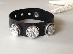 Leather Bracelet with druzy metal beads by Carolinelenox on Etsy, $25.00