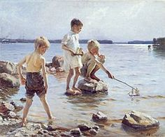 Albert Gustaf Aristides Edelfelt July 1854 - 18 August was a Finnish painter born in Porvoo, Finland. His father Carl Albert was an architect. Vincent Van Gogh, Art Plage, Google Art Project, La Rive, Nordic Art, Boys Playing, Gustav Klimt, Renoir, Love Painting
