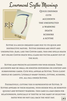 Lenormand Scythe Keywords and card meanings which are suitable for beginners and can be used with any deck for fortune telling.