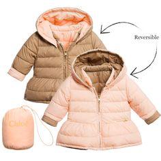 Baby Girls Beige Down Padded Reversible Jacket, Chloé, Girl