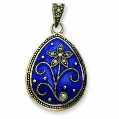Sterling Silver Marcasite Blue Enamel Teardrop Flower Pendant Shop4Silver. $30.68. Approximate Width: 20 MM (0.78 INCHES). Approximate Length: 35 MM (1.37 INCHES). Save 67% Off!