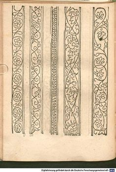 Border Pattern, Border Design, Pattern Design, Fabric Patterns, Embroidery Patterns, Hand Embroidery, Medieval Embroidery, Vintage Embroidery, Illuminated Letters