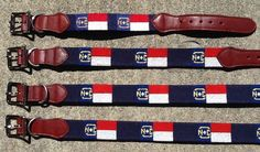 Needlepoint Dog Collar - NC Flag