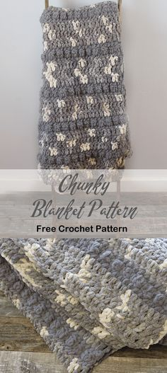 Looking for a throw blanket that would work up fast? Try this Bernat yarn free chunky throw blanket crochet pattern. It is made with a great neutral variegated yarn. Chunky Blanket, Blanket Yarn, Blanket Crochet, Crochet Yarn, Chunky Crochet Blankets, Bernat Baby Blanket, Crochet Scarfs, Form Crochet, Crochet Afghans