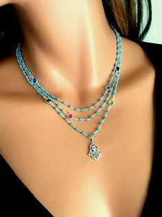 Hamsa Necklace Turqu  Hamsa Necklace Turquoise Gemstone Swarovski by divinitycollection, $165.00