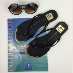 Final PriceDolce Vita Flat Sandals Final Price No Offers Accepted Size: 6.5 Black with gold metal cap. Upper Faux leather, rubber soles. In great condition. Dolce Vita Shoes Sandals