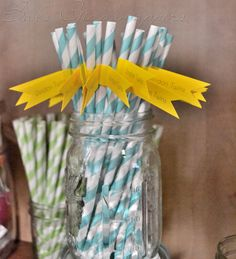 Turq Drinking Straws with Yellow Flags by bbond0520 on Etsy, $0.75