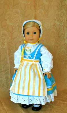 Yellow and blue Scandanavian Dress, Bonnet, Blouse, Apron and Pantalettes, by Calyxadollcreations on Etsy SOLD 9/20/16