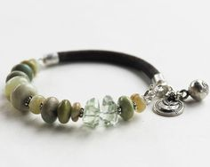 Gemstone bracelet artisan style - Harmony jade, prasiolite, aqua terra leather and silver jewelry bracelet beaded. $110.00, via Etsy.