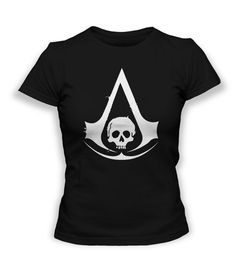 Assassin's Creed IV Black Flag Logo T-Shirt LADY FIT Black or Charcoal - Available in many sizes on Etsy, £11.42