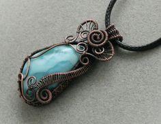 Calling Atlantis  blue larimar copper wire wrapped by bodzastudio, $58.00