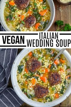Make this belly-warming and filling bowl of Vegan Italian Wedding Soup. Perfect on chilly nights and cold days! It is chockful of veggies, pasta pearls, and savory vegan meatballs.  so healthy and easy to make. #vegahuggs #italian #heartysoup Chili Recipes, Vegan Recipes, Vegan Meatballs, Wedding Soup, Vegan Soups, Curries, Cheeseburger Chowder, Stew, Whole Food Recipes