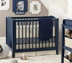 Inspiration for blue cribs - Emerson Mini Crib & Mattress Set | Pottery Barn Kids