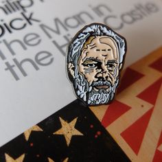 """1"""" Philip K Dick pin. Enamel lapel pin. Badge. Sci fi Author. Bladerunner. Do Androids Dream of Electric Sheep. The Man in the High Castle. by ThreadFamous on Etsy https://www.etsy.com/listing/255324816/1-philip-k-dick-pin-enamel-lapel-pin"""