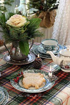 Christmas Tea Party, Tartan Christmas, Plaid Christmas, Country Christmas, White Christmas, Christmas Home, Christmas Holidays, Winter Tea Party, Norway Christmas
