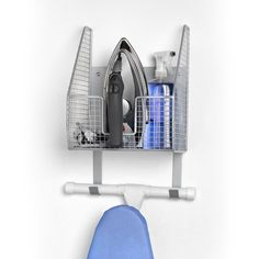 Spectrum Diversified Ironing Board Holder With Storage Basket, Heat-Resistant Ironing Board Holder, Open Wire Storage Basket, Laundry Room Décor & Organization, Pewter Ironing Board Storage, Ironing Board Holder, Laundry Room Organization, Laundry Room Storage, Storage Organization, Ironing Boards, Organizing, Laundry Organizer, Laundry Closet