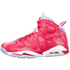 Pre-owned Nike Air Jordan 6 Retro Slam Dunk Sneakers ($425) ❤ liked on Polyvore featuring men's fashion, men's shoes, men's sneakers, red, mens round toe shoes, mens red high top sneakers, nike mens shoes, mens retro shoes and mens hi top shoes